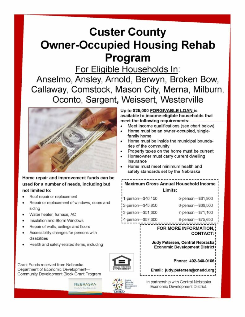Custer County Housing Rehab Program Flyer